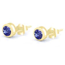 0.92 Ct Round 5mm Blue Tanzanite 14k Yellow Gold Stud Earrings
