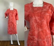 Vintage Dress Pink Coral Seashell Beach Print Shift Cotton Handmade Large 1990s