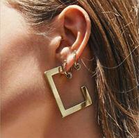 Fashion Women Metal Geometric Pendant Dangle Drop Statement Earrings Jewelry New