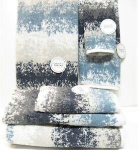 6 PC Towel Set Common Thread 2 Bath 2 Hand 2 Fingertip Khaki Denim Navy Grey