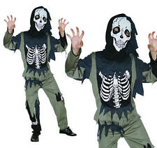 Childrens Skeleton Zombie Fancy Dress Costume Halloween Childs Kids Outfit L