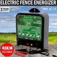 NEW 40km Power Electric Fence Energizer 12 Volt Charger Poly Wire Tape Posts