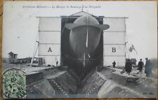 Airship/Dirigible/Blimp 1907 Realphoto French Aviation Postcard: Patrie, Hangar