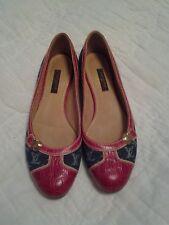 LOUIS VUITTON Blue Denim & Red Leather Ballet Flats Shoes SZ 35.5