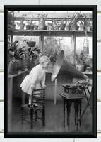 Antique Photo Little Girl Looking into Gramophone Victorian Photo Print 5x7