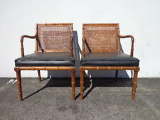 Pair of Chairs Faux Bamboo Chinese Chippendale Accent Hollywood Regency Style