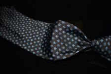 Brooks Brothers Makers Italian Silk Chocolate Twill Blue Woven Floral Sprig Tie