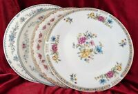 4 Vintage Mismatched China Dinner Plates Blue pinks red Floral Cottage Chic  212