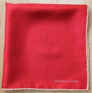Silk Turnbull & Asser red pocket square with cream border. 42cm square