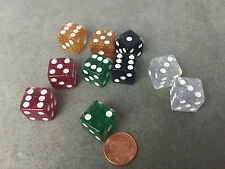 Set of 10 D6 16mm Glitter Dice - Mixed Color with White Pips