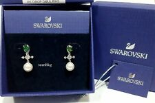 Swarovski Perfection Drop Earrings, Green RHS Crystal Pearl Authentic 5489440
