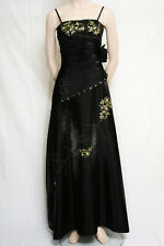 LONG BLACK STRAP DRESS EVENING PROM GOLD SEQUINS TRIM BY CHERLONE SIZE 14/16