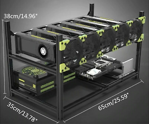 Veddha 6 GPU Miner Case Aluminum Stackable Mining Case Rig Open Air Frame USA!!!