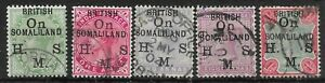 SOMALILAND SGO1/5 1903 OFFICIAL OVPT SET USED