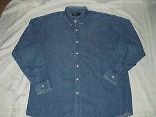 POLO RALPH LAUREN men vintage DENIM Blue SHIRT w/ RED PONY logo Korea 105 Size L