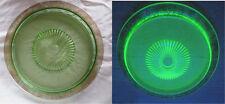 """Vintage 13"""" Depression Era Vaseline Glass Serving Platter - Ornate Gilded Edge"""