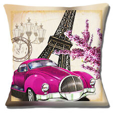 "Vintage Retro Paris Cushion Cover 16""x16"" 40cm Eiffel Tower Classic Car Lilac"