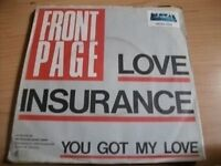 """7"""" Vinyl - FRONT PAGE - LOVE INSURANCE + YOU GOT MY LOVE (1979)"""
