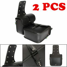 2Pcs Mini Motorcycle Saddlebags PU Leather Side Storage Fork Tool Pouch Black PE