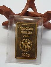 100 g Gold AU Barren Heraeus Goldbarren 999,9