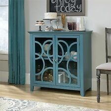 Sauder Shoal Creek Elise Display Cabinet Moody Blue/blue Pantone Finish