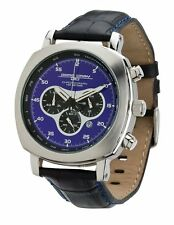 Jorg Gray JG3500 Men's Watch Chronograph Blue Dial Black Leather Strap 45mm