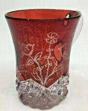 Ruby Red Flash Cut Glass Souvenir Cup Wennie Birds Etched Antique FANCY 1907