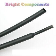 2,4 mm X 1m Negro CALOR SHRINK Sleeving (heatshrink tubería) - 1st Class Post