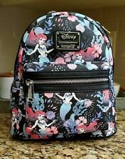 NWT Loungefly Disney The Little Mermaid Ariel Floral AOP Mini Backpack Black 🧜‍