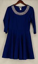 Glitterscape Dress L Beaded Embellished Neck 3/4 Sleeves Royal Blue