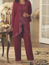 Women's Mother of Bride Groom Wedding party 3PC duster pant set suit plus 2X 3X