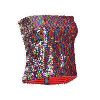 Sequin Strapless Top - Rainbow - Festival Fancy Dress