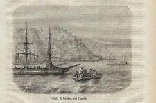 Stampa antica QUEBEC veduta panoramica Canada 1872 Old Antique print