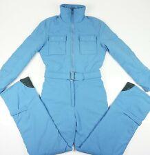 Vintage Obermeyer Size 12 M Snow Ski Suit Blue Belted Zip Pockets Detachable