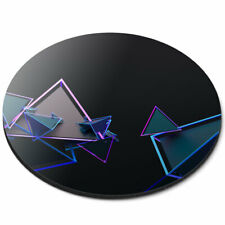 Round Mouse Mat - 3D Triangle Abstract Shape Office Gift #2782