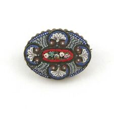 Antique FAP Fabbrica Angelo Pessar Italian Micro Mosaic Oval Brooch Pin