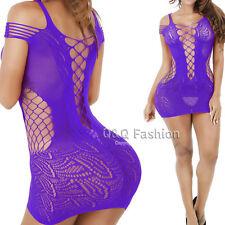 Purple Fishnet Deep V Open Bust Lingerie Babydoll Teddy Body Suit Stocking Dress