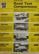Alfasud V's Audi 80LS, Citroen GS & Simca 1100 Special comparison test