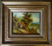 """Painting """"COUNTRY CABIN"""", OIL ON CANVAS by artist """"REDMAN"""" 8""""x 10"""" FRAMED - HREE"""