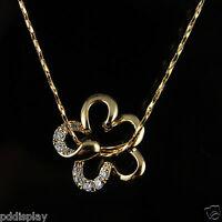 18k Gold GF flower  with Swarovski crystals pendant necklace