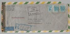 1944 Brazil dual censored Airmail cover to USA Rubber Development Corporation