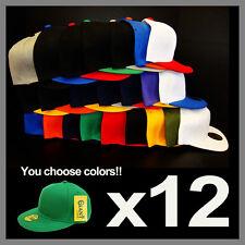 LOT OF 12 SNAPBACK SNAP BACK CAPS HATS **WHOLESALE SNAPBACKS**CHOOSE YOUR COLORS