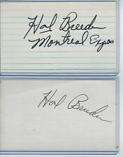 (2) HAL BREEDEN INDEX CARD SIGNED 1971-75 EXPOS CUBS PSA/DNA CERTIFIED