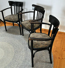 3 RARE unrestaurierte Thonet armlehn-stühle with Stylized jugendstil-bezug