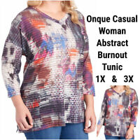 New Onque Casual 1X 3X Tunic Top Blouse Studded Abstract Stretch Semi Sheer