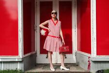 Moda Donna vestito Miniabito Mini 60er ROSSO True Vintage woman dress 60s strisce