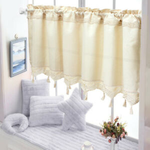 Country Style Cotton Linen Kitchen Cafe Curtain Crochet Tassel Country Cottage