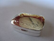 Sterling Silver Pill Box Rectangle 925 solid silver Hallmarked Engraved 1 1/4