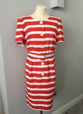 STEWART PARVIN LONDON, RED & WHITE BUTTON FRONT SHORT SLEEVE DRESS & BELT - S 16