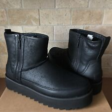 UGG CLASSIC REBEL BIKER MINI ROCKER BLACK PLATFORM BOOTS SIZE 7 WOMEN *SOLD OUT